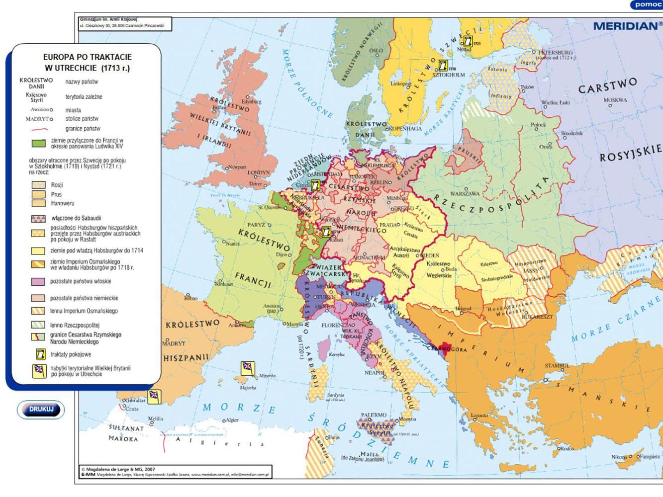 Europa po traktacie w Utrechcie 1713r
