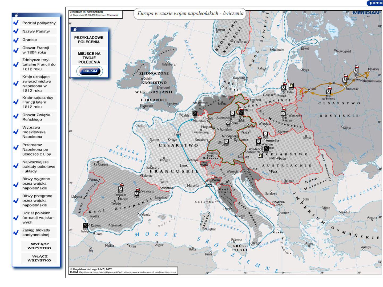 Europa w czasie wojen napoleońskich - ćwiczenia